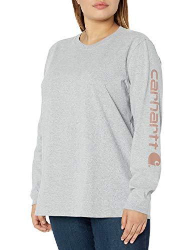 Carhartt Womens Workwear Logo Long-Sleeve T-Shirts, Heather Grey, L