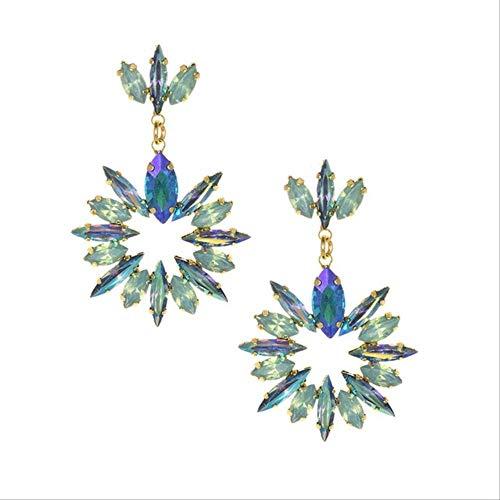 Para las mujeresPendientes de flores de cristal para el color Bling Crystal Pendientes largos de borla para las mujeresFlor de labodalake grren