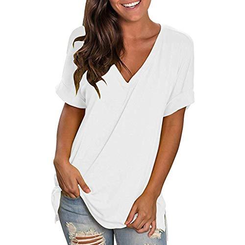t-Shirt Femme Blanc Noir Jaysis Tee Shirt Femme Sexy Ete Chic Col v Solide Ample Tunique Tee Shirt Femme Pas Cher a La Mode Manche Courtes Haut Femme Chic Décontracté Lâche Top Femme Vêtements