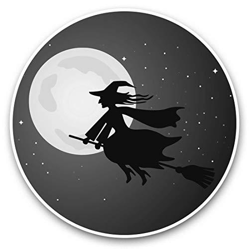 Impresionantes pegatinas de vinilo (juego de 2) 30 cm BW – Halloween Wicked Witch Cartoon Divertidos calcomanías para portátiles, tabletas, equipaje, reserva de chatarras, neveras, regalo genial #37657