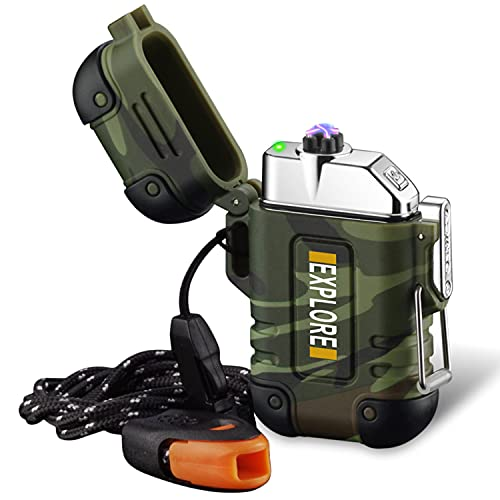 lcfun Arc Lighter Outdoor Waterproof Windproof Plasma Lighter Rechargeable USB Electronic Lighters with Emergency Whistle for Camping,Adventure,EDC Gear, Survival Tactical (Green)