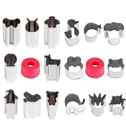 Keksformen-Set, 16-teilig, Edelstahl, Mini-Tierform, Metall-Dekoration, Backwerkzeug für Keksausstecher, Obstausstecher, Gemüseausstecher und Kuchenschneider