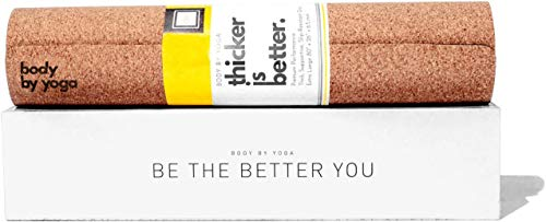 """Luxury Cork Yoga Mat - Non Slip, Soft, Sweat Resistant. Thicker, Longer, and Wider for More Comfort and Support. Tough Enough for Hot Yoga. Optional Built-in Pose Alignment Lines (80"""" x 26"""" x 6.5mm)"""
