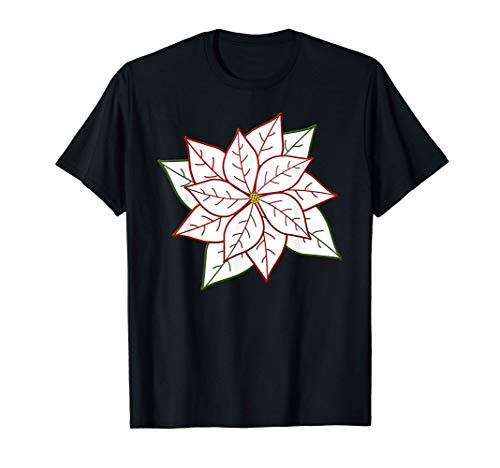White Poinsettia with Colored Outline T-Shirt