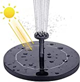 Koqit Solar Springbrunnen,1.5W Solar Teichpumpe mit Solar Panel Eingebaute Batterie Wasserpumpe Solar Schwimmender Fontäne Pumpe mit 6 Fontänenstile für Garten,Teich, Vogel-Bad,Fisch-Behälter