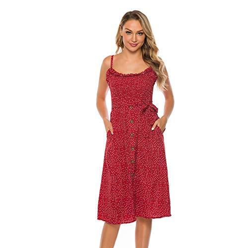 SEMIR Vestido de tirantes sin mangas con botones a través de una línea A Sundress Midi con bolsillos, para mujer