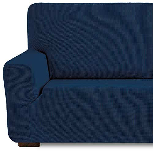 Eiffel Textile Funda de Sofa Monaco Elastica Adaptable Lisa, 94% poliéster 6% Elastano, Azúl, 3 Plazas