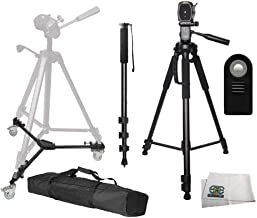 72-inch 3-Way Panhead Tilt Motion with Two Built in Bubble Leveling Tripod + Tripod Dolly + 72 Monopod w/Quick Release + Wireless Remote + Microfiber Cleaning Cloth for Canon DSLR Cameras