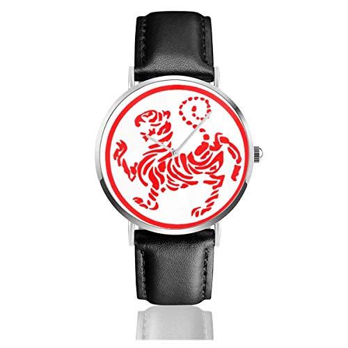Armbanduhr Quarzuhr Hotokan Karate Symbol Freizeituhren mit schwarzer Lederuhr