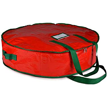 Christmas Wreath Storage Bag - 30  X 7  - Durable Tarp Material, Zippered, Reinforced Handle and Easy to Slip The Wreath in and Out. Protect Your Holiday Wreath from Dust, Insects, and Moisture.…