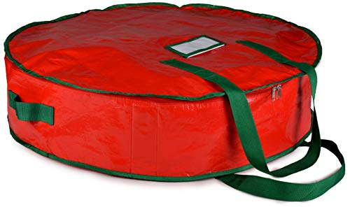 "Christmas Wreath Storage Bag - 30"" X 7"" - Durable Tarp Material, Zippered, Reinforced Handle and Easy to Slip The Wreath in and Out. Protect Your Holiday Wreath from Dust, Insects, and Moisture.…"