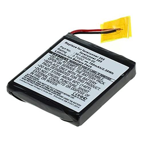 Batería de repuesto compatible con Garmin 361-00026-00 para Forerunner 205, 305 (ion de litio, 700 mAh, 3,7 V, 100% compatible)