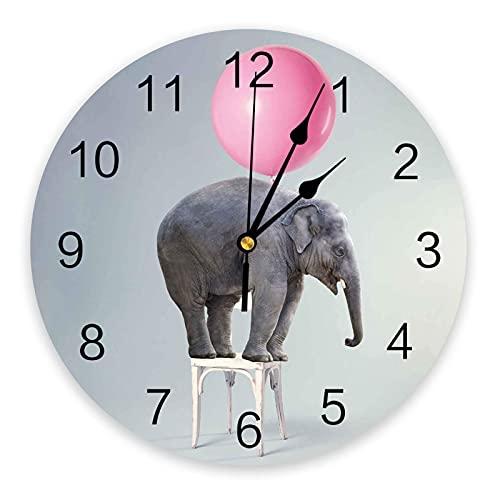 Reloj de Pared Redondo de PVC, Elefante Divertido con Globo Rosa de pie en una Silla Reloj de decoración con Pilas de Cuarzo silencioso para Cocina, Sala de Estar, Dormitorio, Oficina