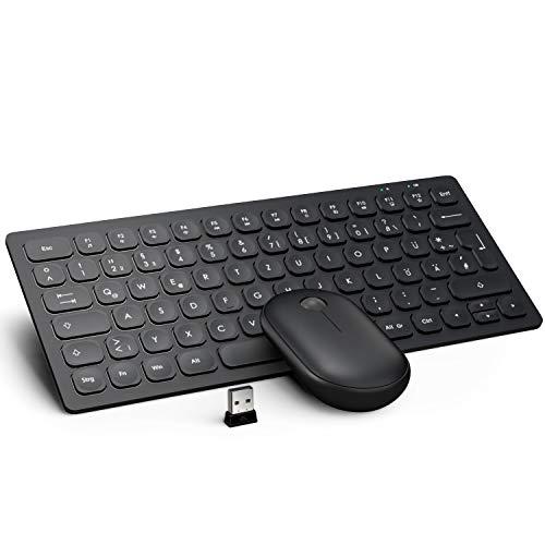 WisFox Tastatur Maus Set Kabellos, 2.4GHz Silent Ultra Dünn Fortgeschrittene Kleine Kompakte Tastatur Maus Kabellos Combo mit USB Nano Empfänger für Laptop, Windows, PC, QWERTZ (Schwarz)