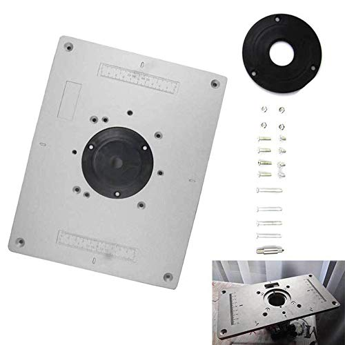 Absir 300mm x 235mm x 9.5mm DIY Aluminum Alloy Router Table Insert Plate with Rings Screws for Woodworking