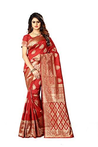 Women's Banarasi Silk Saree Indian Wedding Ethnic Sari & Unstitch Blouse Piece PARI 21 (Red)