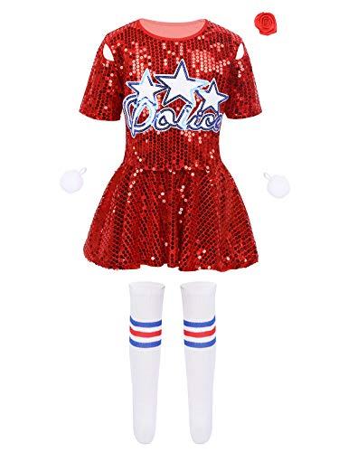 MSemis Disfraz de Animadora para Nias Uniforme Porrista 6Pcs Traje Bailarina Camisa Brillante Falda Shorts y Accesorios Cosplay Cheerleadings Chicas 3-14 Aos Rojo 12-14 Aos