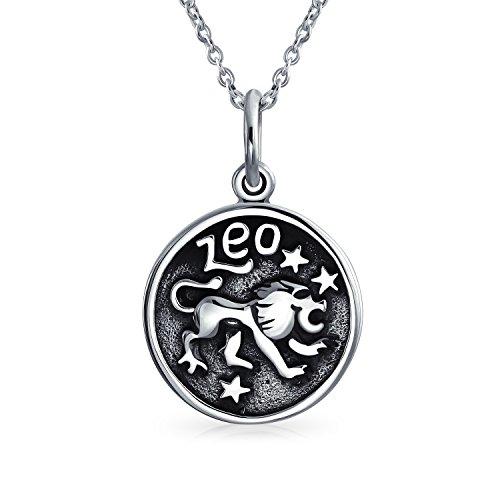 Leo Sternzeichen Astrologie Horoskop Rundes Medaillon Anhänger Für Herren Damen Halskette Antiqued Sterling Silber