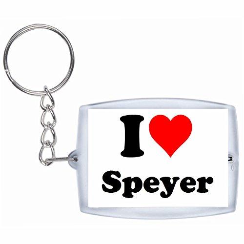 Druckerlebnis24 Schlüsselanhänger I Love Speyer in Weiss - Exclusiver Geschenktipp zu Weihnachten Jahrestag Geburtstag Lieblingsmensch