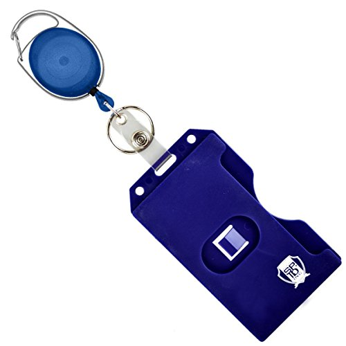 Hard Plastic Vertical - 2 Side Load Multiple Card Badge Holder with Retractable Badge Reel - Carabiner Belt Loop Clip, Keychain and ID Holder Strap by Specialist ID