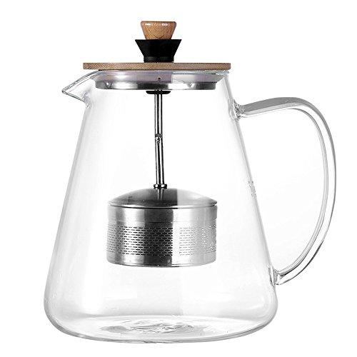 TAMUME 1,5 Liter Glas Teekanne mit Abnehmbaren Hochheben Teekannensieb, Ideal für das Tee-Brauen