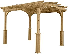 Suncast10' x 12' Wood Pergola - Open Stable Pergola Perfect for Outdoor Settings, Backyards, Gardens, Patio BBQs, Outdoor Party