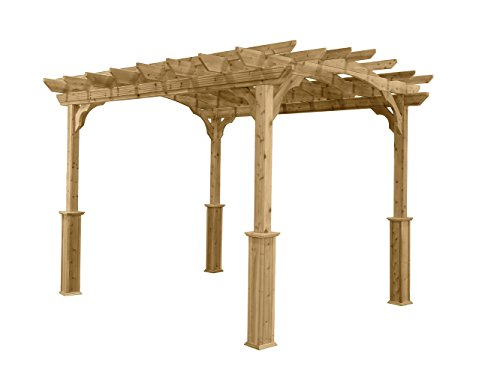 Suncast 10' x 12' Wood Pergola - Open Stable Pergola Perfect for Outdoor Settings, Backyards, Gardens, Patio BBQs, Outdoor Party