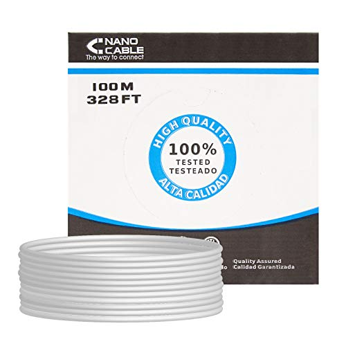 NANOCABLE 10.20.0902 - Cable de Red Ethernet rigido RJ45 Cat.6 FTP AWG24, rigido, Gris, Bobina de 100mts