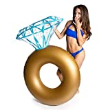 DADDY COOL Inflatable Diamond Ring Bachelorette Pool Floats with Sparkling Holographic Glitter. Engagement Ring Float, Ideal for Beach Wedding, Bridal Shower, Bride or Bachelorette Party Decorations.