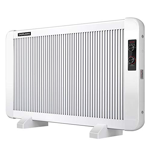 DUOLANG Panel Heater, 1500W Convection Heater, Radiator Heater with Adjustable Thermostat for Indoor Use, Ideal for 300 Sq Ft Room, Freestanding or Wall Mount, Multiple Heat Settings, White Heater Oil Space