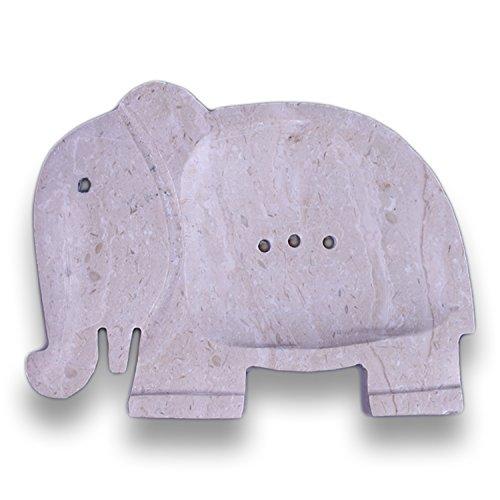 ART-CRAFT Seifenschale aus Natur Marmor Stein Elefant mit Ablaufrinne - verlängert hygienisch die Lebensdauer ihrer Seife