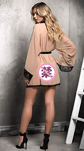 CHENYAO Vrouwen Sexy Lingerie Lace Pyjama Groot Formaat Mesh Garen Doorschijnend Hol Ondergoed Set Babydoll Gewaad Avondjurk