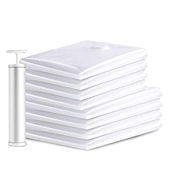 BENGOO Vacuum Storage Bags Space Saver Sealer Bags with 8-Pack  4x Large & 4x Jumbo  Vacuum Sealer Bags for Clothes Pillows Comforters Storage Compression Bags with Travel Hand Pump
