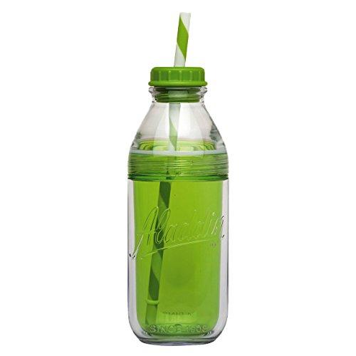 Aladdin 858013 Bouteille à Lait avec Paille Plastique Vert 0,47 L