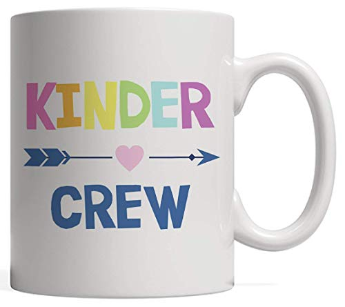 N\A Kinder Crew Kindergarten Teacher Taza de cerámica Blanca - 1er día de Clases Regalo por 100 días de Clases de Clases Celebración Fiesta de graduación Último día de Clases