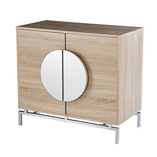 SEI Furniture Northdom w/Wine Storage Bar Cabinet, Natural/Chrome