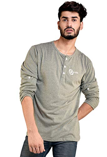 Men's and Boys Round Neck Full Sleeve Cotton T-Shirt - S - Olive Green