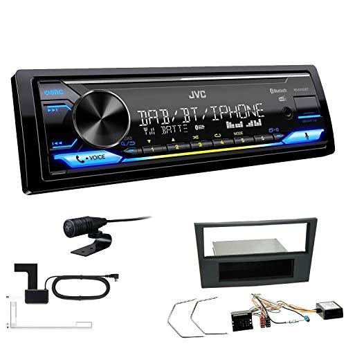 JVC KD-X472DBT 1-DIN Autoradio Bluetooth USB inkl DAB Antenne Einbauset passend für Opel Astra H 2004-2010 Charcoal inkl Canbus