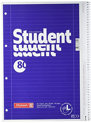 Brunnen 1067907 Notizblock / Collegeblock Student (für Linkshänder, A4, liniert, Lineatur 27, 70 g/m², 80 Blatt mit Spirale rechts)