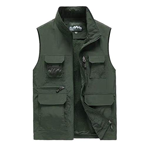 HLD Net sneldrogend vest multi-pocket reporter visserij pak photography outdoor vest dunne visser paard clip man Gilets (Color : ArmyGreen, Size : XL)