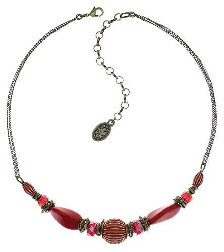 Konplott: Collier Tropical Candy red, aufwendiges Glas-Kristall-Collier in knallig rot, für Damen/Frauen