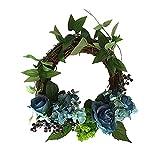 Daesar Guirnaldas de Flores Secas,30CM,Flores Rosas Puerta de Flores Azul Verde