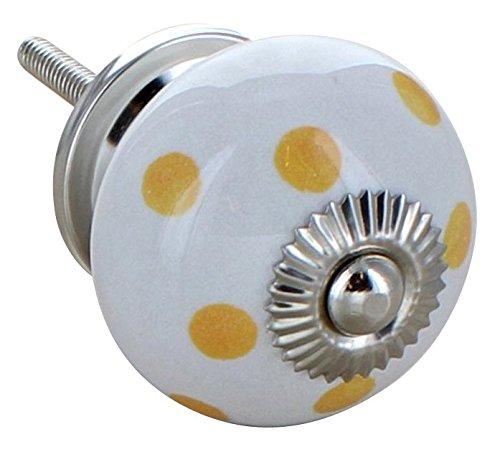 G Decor Jaune céramique Motif à pois Style rétro Shabby Chic (bouton de poignée de porte de placard tiroir tirage 4503–YW