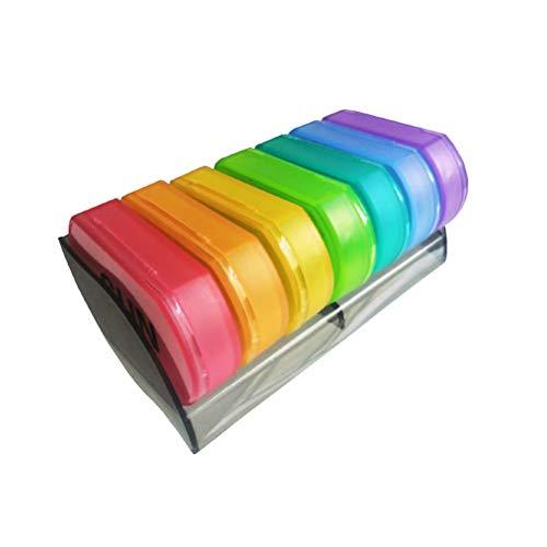 Hemoton Pastillero de plástico portátil con 7 rejillas, color arco iris, caja de almacenamiento de pastillas de una semana para la oficina en casa