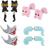 IYSHOUGONG 4 Pairs Polymer Clay Earrings 3D Clay Stud Earrings Biting Your Ear Animal Earrings Christmas Santa Pig Shark Squid Cat Polymer Earring for Women Girls