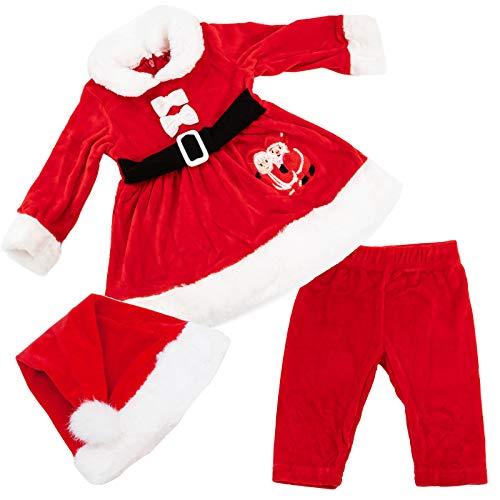 Toocool - Completo Bambina neonata Tutina Vestitino Babbo Natale Cappellino Nuovo FK826 [9/12,DJ-866 ]
