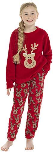 Keanu Pijama para mujer y niña, con forro polar de microforro polar a juego, diseño de reno