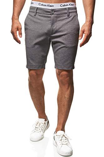 Indicode Herren Aalborg Chino Shorts mit 4 Taschen aus Viscose-Stretch | Kurze Hose Regular Fit Bermuda Chinoshorts Männershorts Herrenshorts Short Men's Pants Sommerhose für Männer Lt Grey Mix L