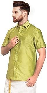 SJS-Men's Half Sleeve Solid Art Silk Shirt (Pista Green, 36)