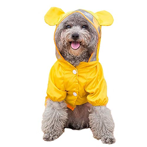 Small Dog Raincoat Poncho Water Proof Clothes with Hood Lightweight Rain Jacket-L(Bust:19'')